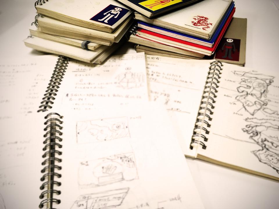 発掘された古の企画ノート。 昔は手書きだったなぁ。と感慨深いが大半は意味不明。 それでも時々助けられることがあるのも事実。
