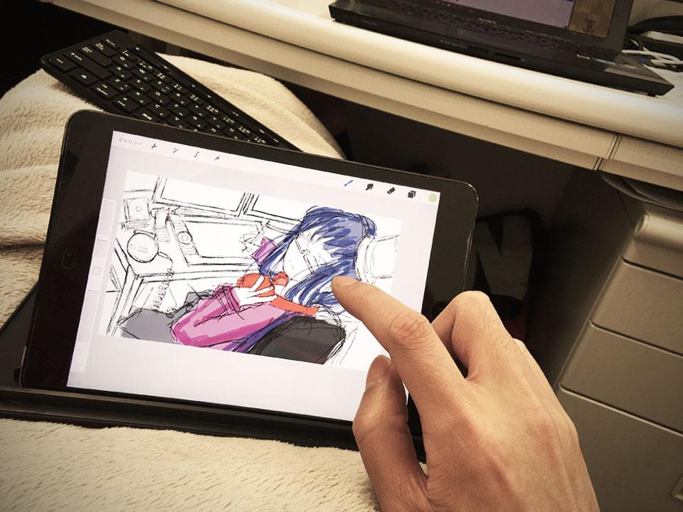 最近はiPadを使って指で直接描きます。 ペンやマウスを使って描くよりは圧倒的に楽ですが指先が痛くなります。 ずっとiPadをいじっているからってサボっているわけじゃないですよ。